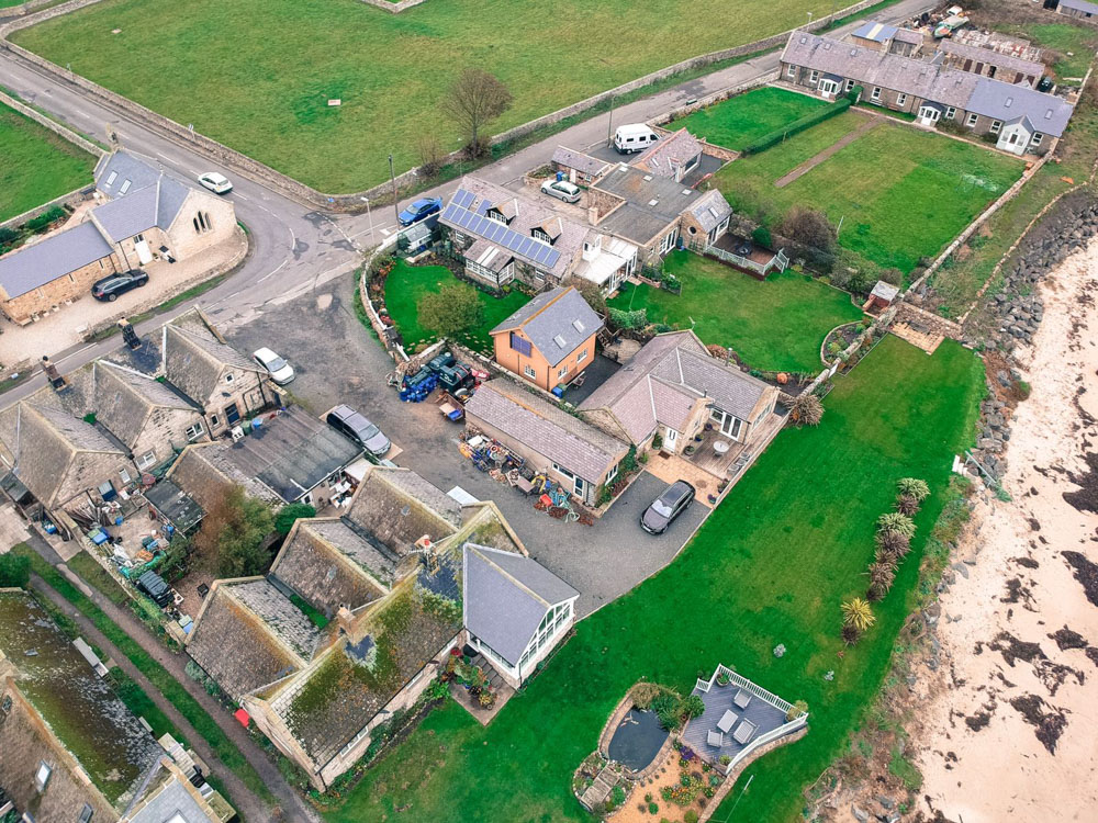An Aerial View Of Coble Cottage